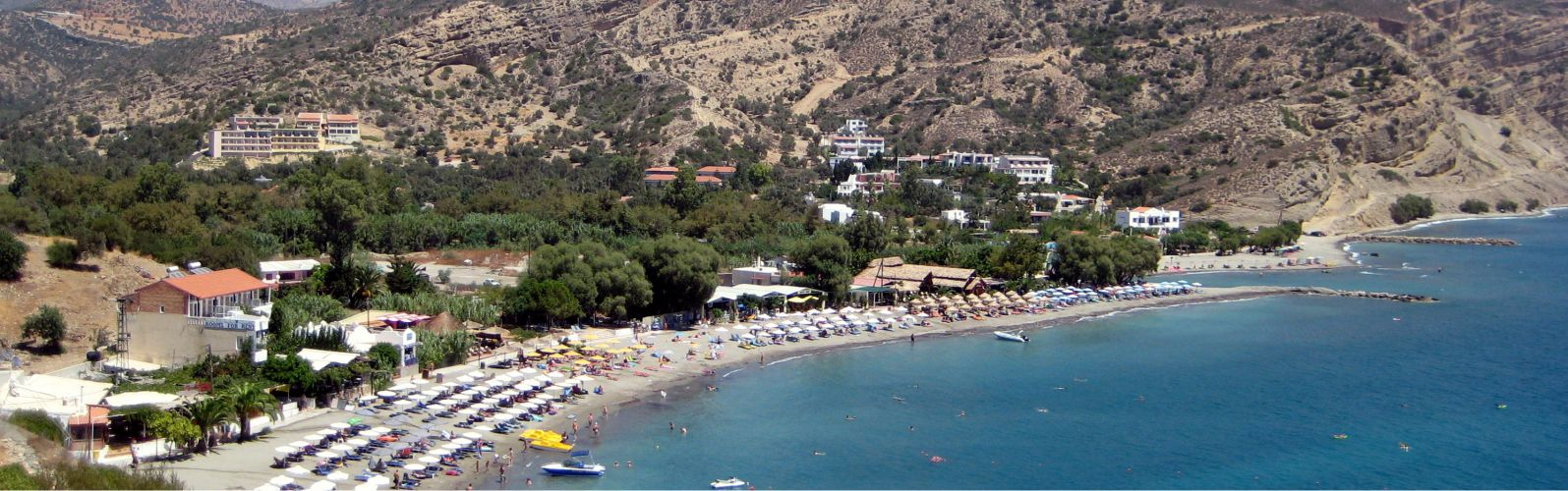 Panorama of the beach at Agia Galini